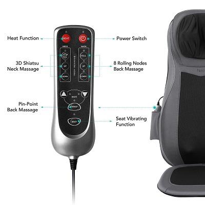télécommande siège massant shiatsu 3D de Naipo